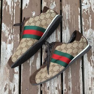 Gucci Vintage GG Guccissima Green Red Web Sneakers
